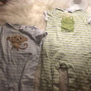 Monkey and frog striped sleepers! Bundle